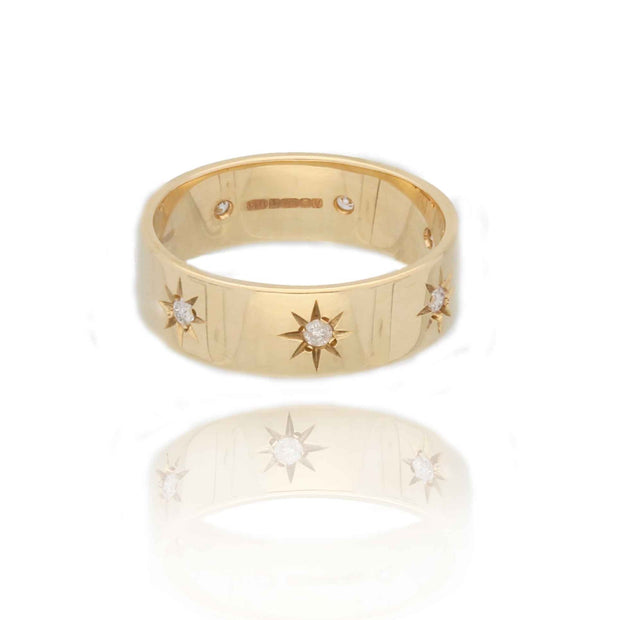Star Studded Love Gold Ring with Diamonds