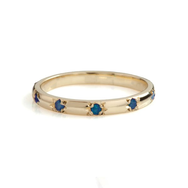 Stella Eternity Blue Sapphires Yellow Gold Ring