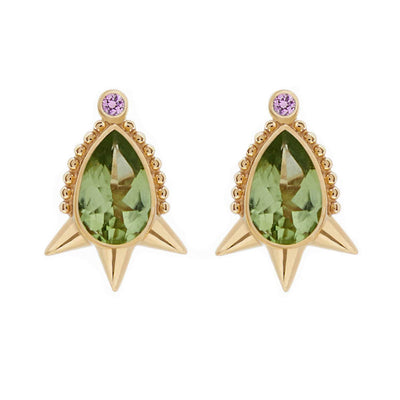 Pear-shaped Peridot Spike Stud Earrings