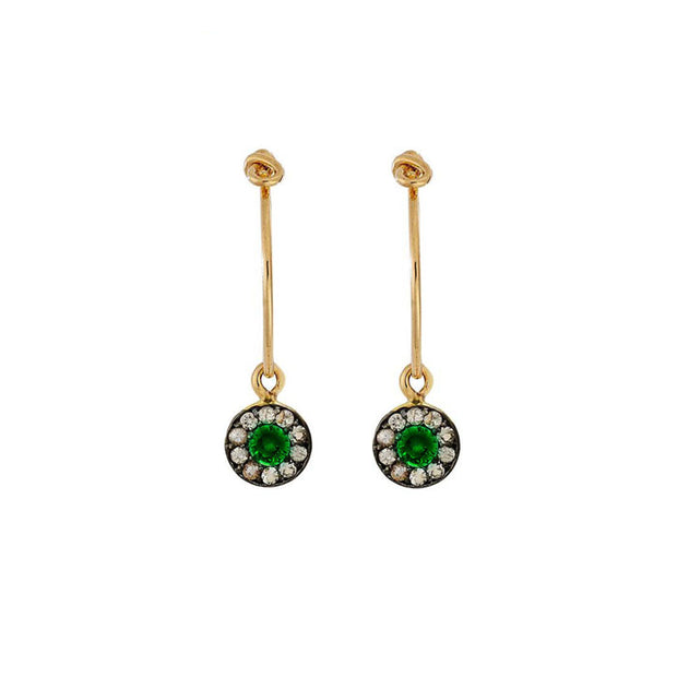 Sun Hoops with Tsavorite & White Sapphires