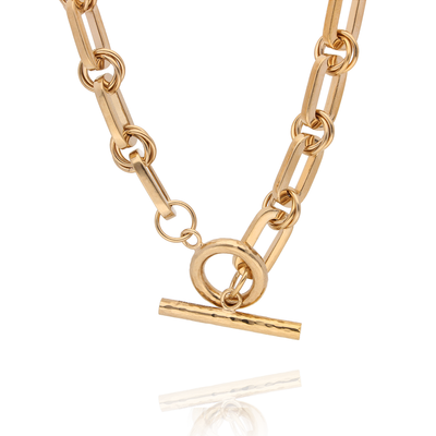 EC One Heavy recycled Gold Plated T-Bar Necklace