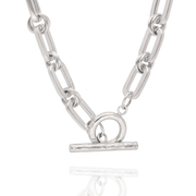 EC One Heavy recycled Silver T-Bar Necklace