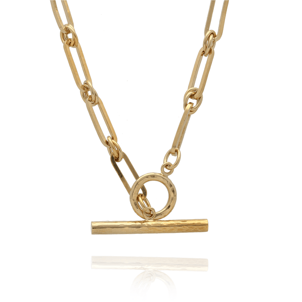 EC One Gold Plated T-Bar chain Necklace
