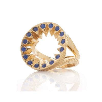 EC One Flora Bhattachary Yaksha Taxila Cocktail Ring with Blue Sapphires