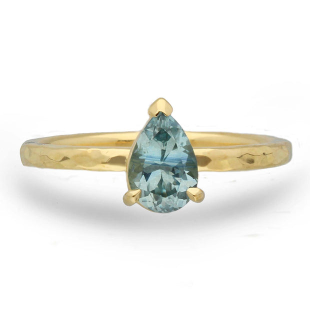 Alice Pear Shaped Teal Sapphire Engagement Ring