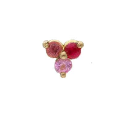 "Single ""Trio""Ruby, Pink Sapphire,Garnet Gold Earring"