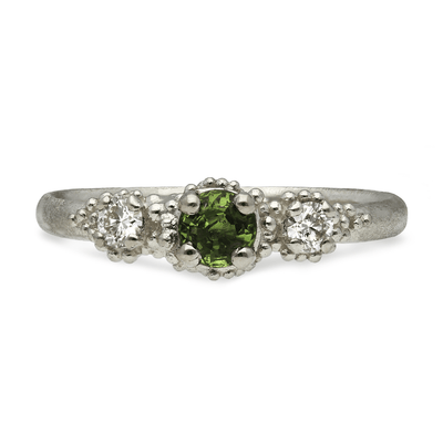 Triple Cluster Ring Green Sapphire & Diamond White Gold