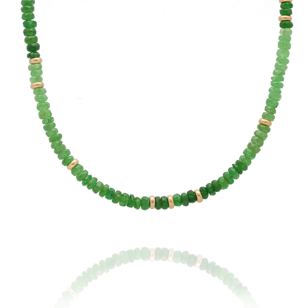 EC One Tsavorite and Gold Bead Necklace