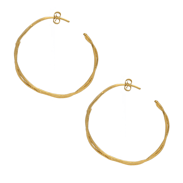 Fine Twist Hoop Earrings Gold Plated