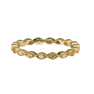 Ungar and Ungar  Marquise Yellow Sapphire Diamond Yellow Gold Eternity Ring