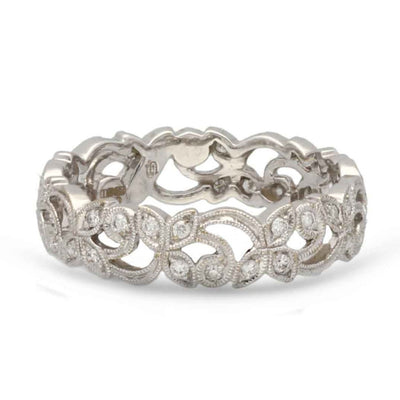 Ungar and Ungar Medium White Gold Diamond Floral Band