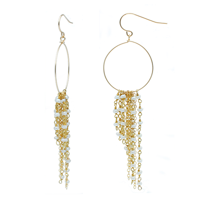 Tassel Chain Loop Pearl Gold Earrings