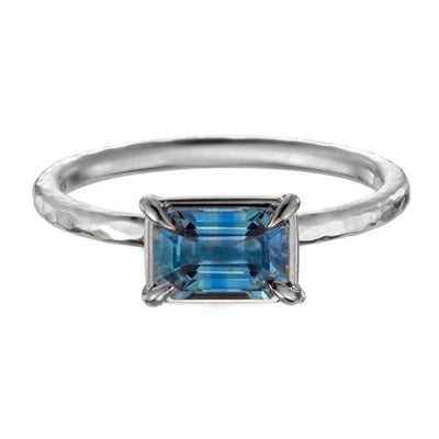 EC One Alice Baguette Cut Blue Sapphire Engagement Ring recycled white gold made in london