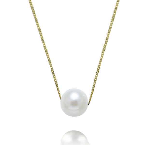 EC One Necklace with White Pearl on yellow gold chain