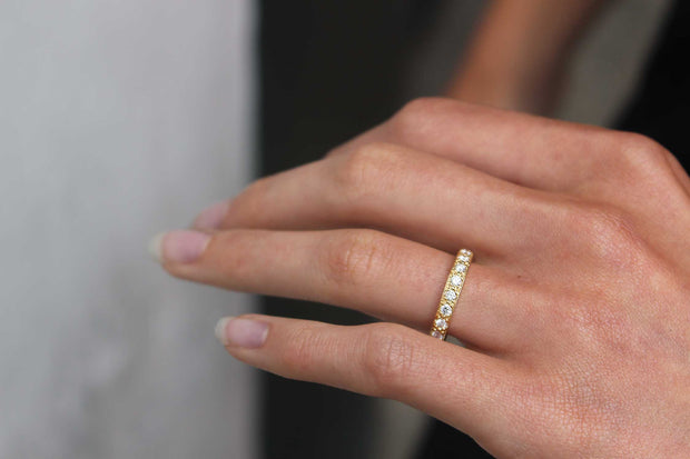 "EC One Wide ""Emma"" Diamond recycled Yellow Gold Eternity Ring"