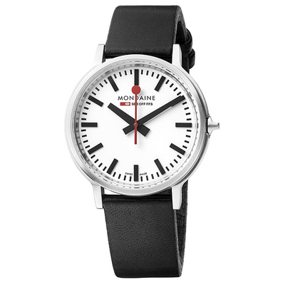stop2go Gents Watch 41mm Case White Dial Black leater strap