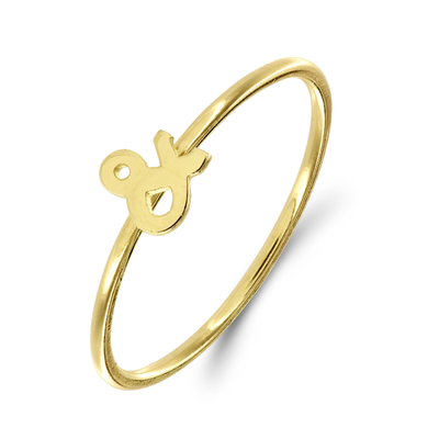 EC One mini letter Ampersand 18ct Gold Stacking Ring