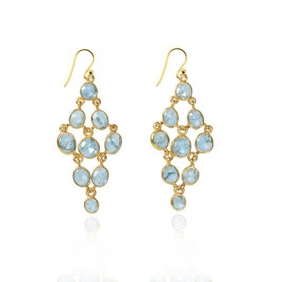 Aquamarine Chandelier Gold Earrings
