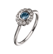EC One 'Dainty' Aquamarine and Diamond White Gold Ring