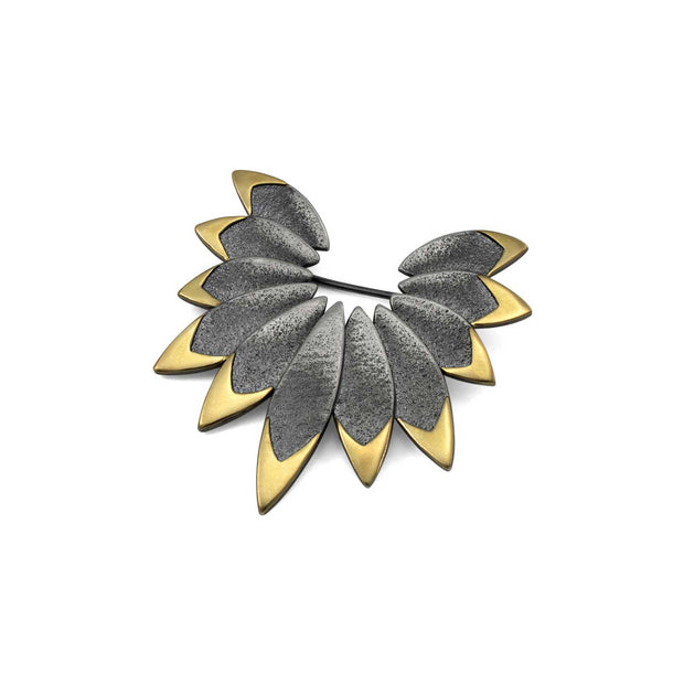 Cara Tonkin Unique Gold & Oxidised Silver Icarus Brooch