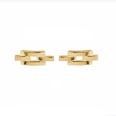 Chain Link Gold Stud Earrings