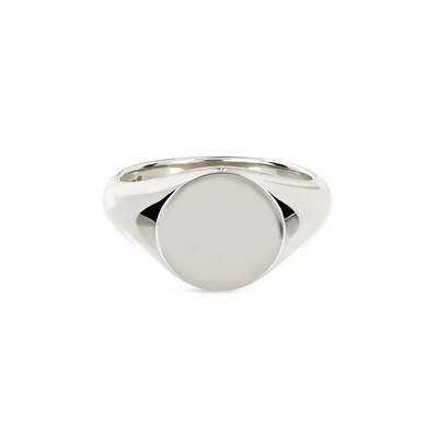 Round Silver Signet Ring