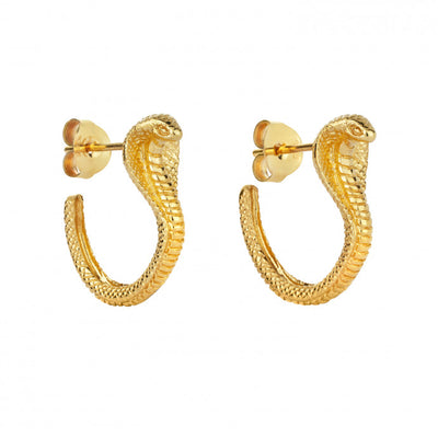 Zoe & Morgan Cobra Snake Gold Plated Hoop Earrings