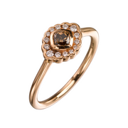 EC One 'Dainty' Cushion Cut Cognac Diamond Rose Gold Ring