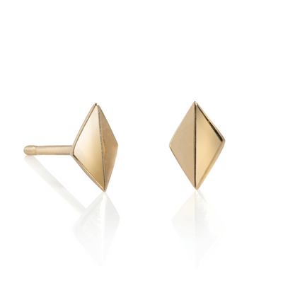 Crown Yellow Gold Stud Earrings