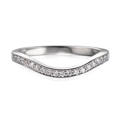 "EC One ""Dainty"" Deep Curved Half Eternity Ring shaped diamond wedding ring"
