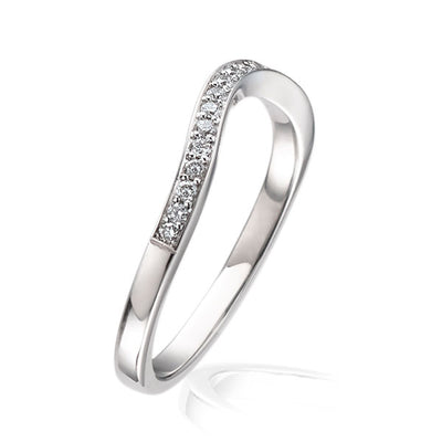 """Dainty"" Deep Curved Half Eternity Ring"