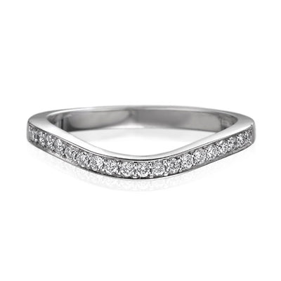 "EC One ""Dainty"" Curved Half Eternity Ring Shaped Fitted Wedding Ring"
