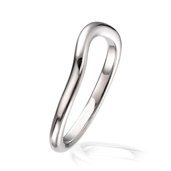 """Dainty"" Deep Curved 18ct White Gold Wedding Ring"