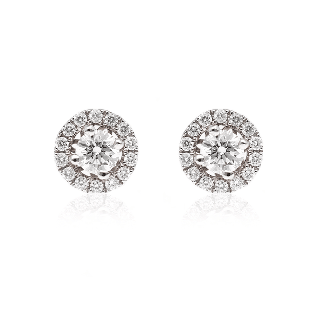 EC One Diamond Halo Studs White Gold