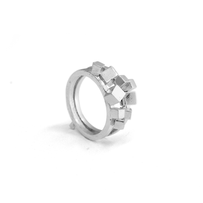 Silver Double Rubble Ring