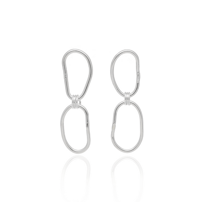 Oval Double Chain Link Earrings