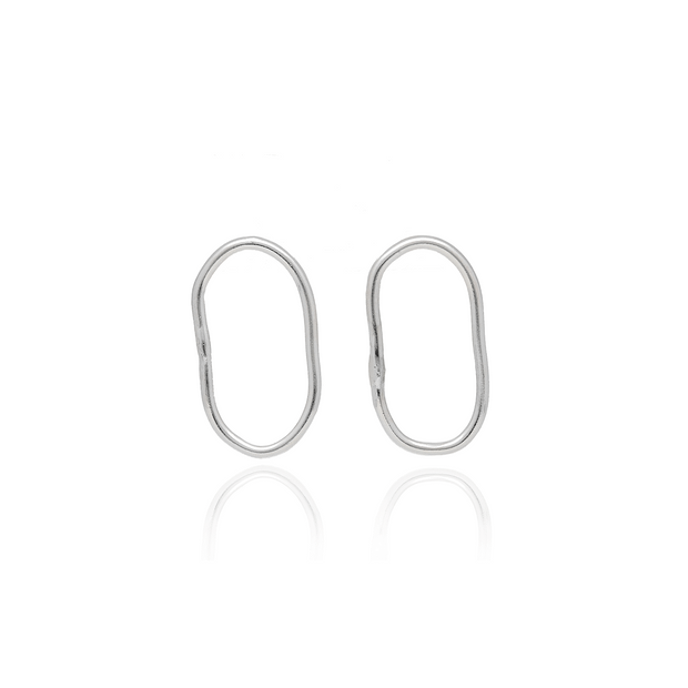 EC One Ella Stern recycled silver Oval Shape Studs