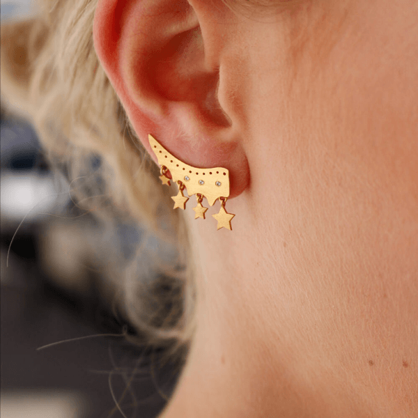 Ear Cuff with Stars and White Sapphires