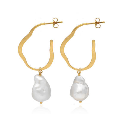 Chan Luu EC One Organic Hoops with White Freshwater Pearls