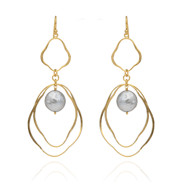 Chan Luu EC One Statement Double Drop Earrings with Grey Freshwater Pearl
