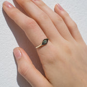 EC One Ellie Air Kite Emerald Gold Signet Ring