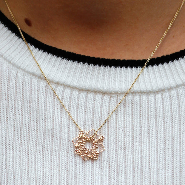 Gold Mandala Filigree Pendant Necklace