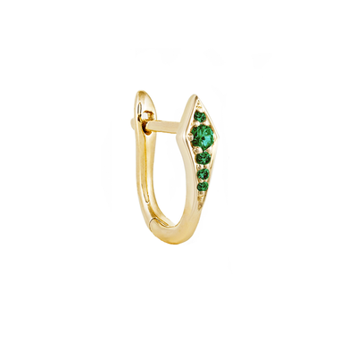 Single Emerald Point Huggie Earring