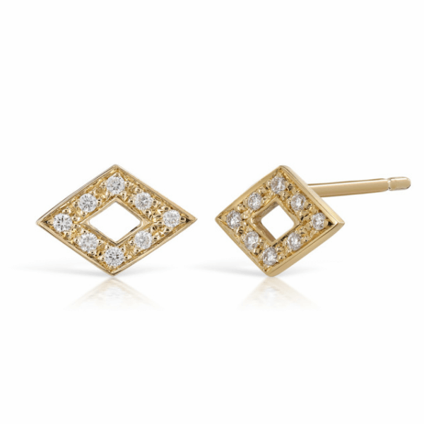 Feather Diamond Gold Stud Earrings