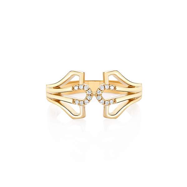 Three Feather Gold and Diamond Ring