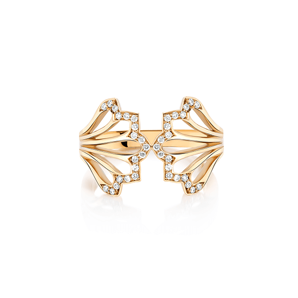 Five Feather Gold and Diamond Ring