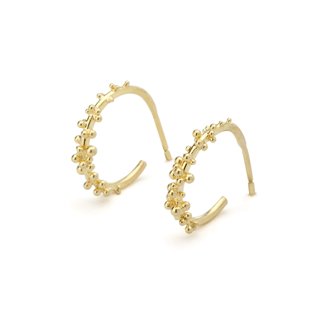 EC One Hannah Bedford recycled gold Granule Hoops Earrings