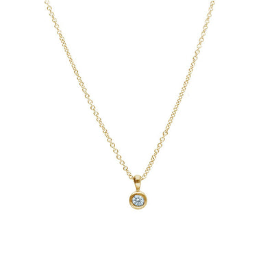 EC One Little Diamond Rub-over Pendant recycled Yellow Gold