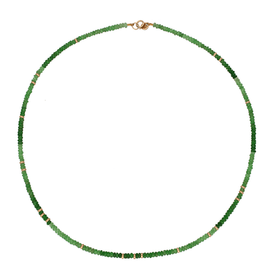 Tsavorite and Gold Bead Necklace