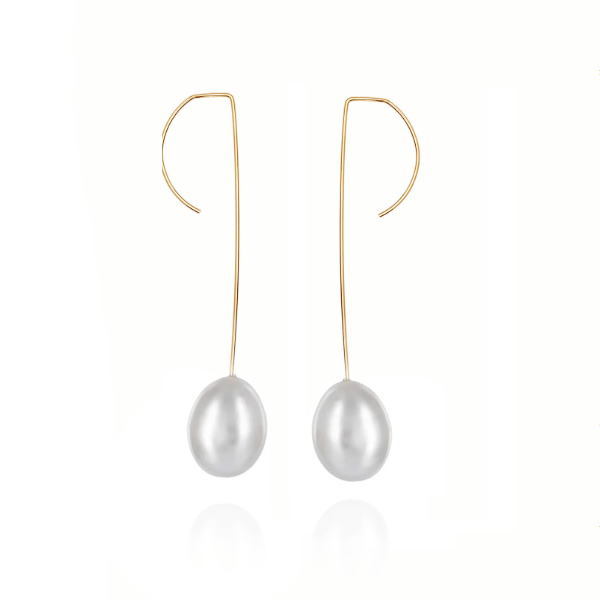 Grey Pearl Long Hook Earrings